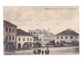 Kašperské Hory náměstí děti Bürgerschule škola ČB světlotisk 1a