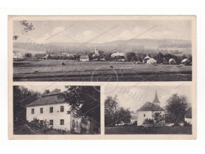 Hlavňovice 2+1 okénka zámek kostel Foto Dolejš Pha ČB světlotisk 1a