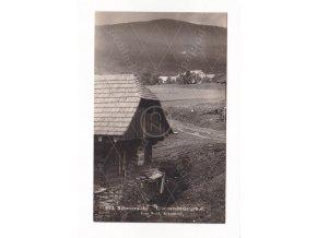 Železná Ruda Špičák Girglhof ČB foto J. Wolf 943 1a razítko Postamt Eisenstein Markt 1a