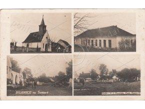 BÍLENICE - okres Klatovy, Šumava, 4 okénka, ČB foto, Grafie Chmelíček, MF