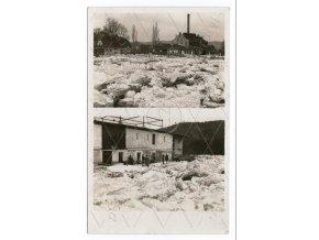 SÁZAVA, okres Benešov, řeka Sázava, sklárna, ledová povodeň, živá, katastrofa, 2 okénka, ČB Real foto, MF