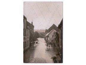 154 SOBOTKA, okres Jičín, ulice, POVODNĚ 1926, katastrofa, ČB REAL FOTO, MF